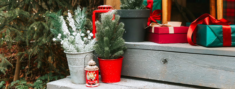 Backyard porch with Christmas decorations