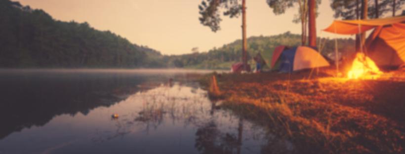 Campsite with bonfire