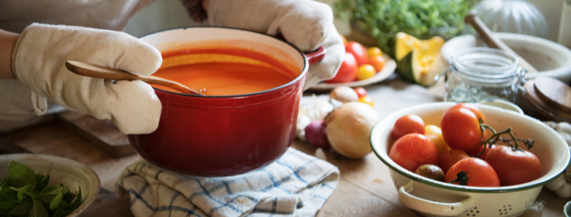 Tomato soup in a large pot