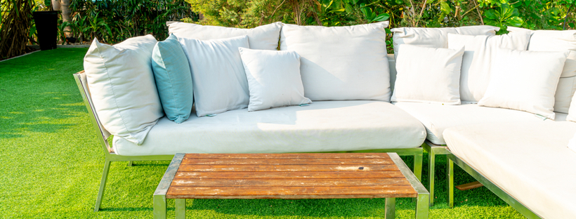 Outdoor sofa in a lawn