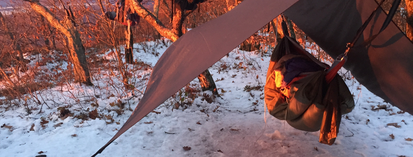 Winter camping with hammock