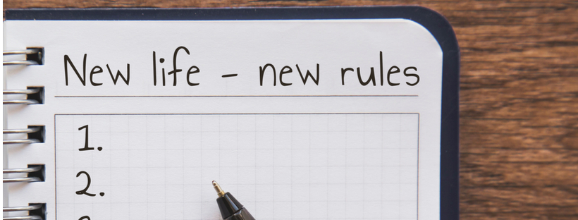 New life rules written on notepad