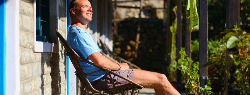 Man relaxing on chair