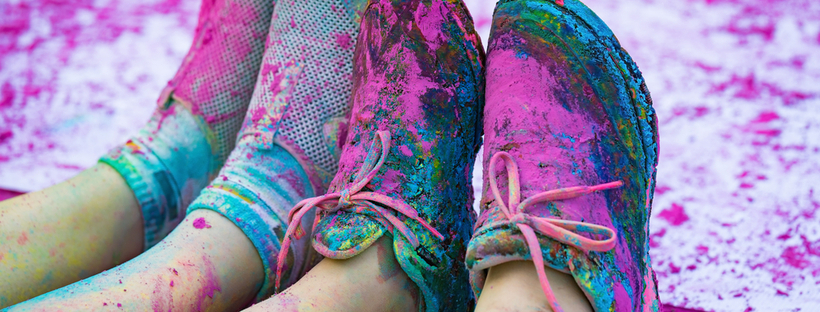 Colorful shoes with pink colored powder