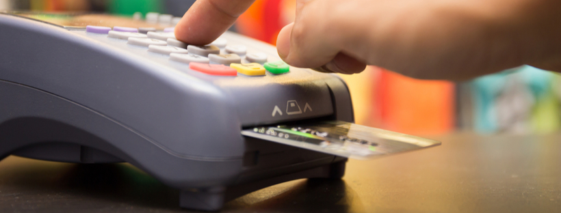 Payment being processed through card machine