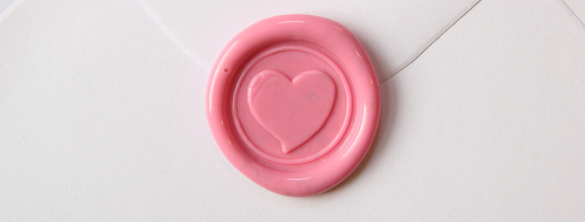 Pink wax seal with heart